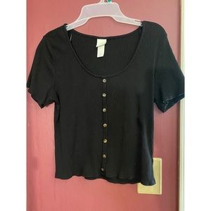 Button-up Casual H&M Black Top